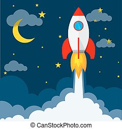 launch., vetorial, illustration., foguete