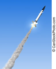 launched missile - 3d rendered illustration of a missile in...