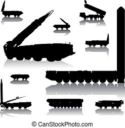 Launcher set - Missile launcher silhouettes set. Vector on...