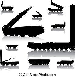 Launcher set - Missile launcher silhouettes set. Vector on...
