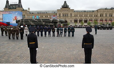 Launchers rolling missile system Topol-M in rehearsal on parade on Red Square