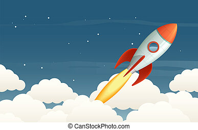 Launching rocket - Illustration of a flying rocket in the ...