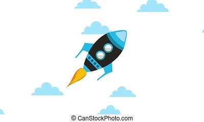 launching rocket startup progress business concept animation...