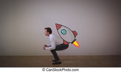 Launching startup business. Businessman fly on rocket from...