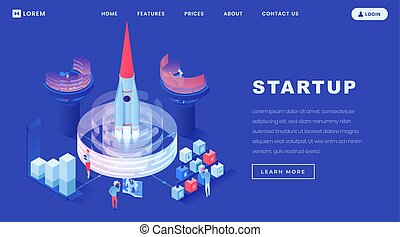 Launching startups isometric landing page template. People launching spacecraft in space. Businessmen, coworkers, investors teamwork for launching creative projects, starting innovative business ideas