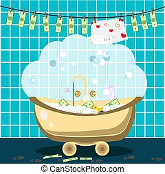 laundering., お金, ベクトル, イラスト, bathroom.