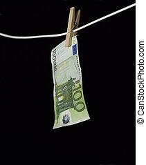 Laundering money towards black background