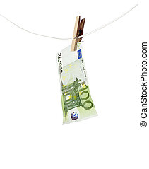 Laundering money towards white background