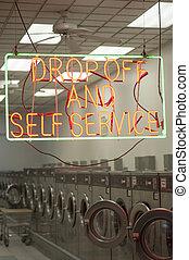 laundromat, 内部, そして, 印