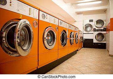 Laundromat - An interior of a retro looking laundromat