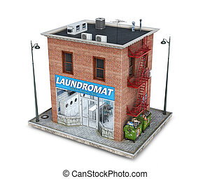 Laundromat building on a piece of ground, 3d illustration