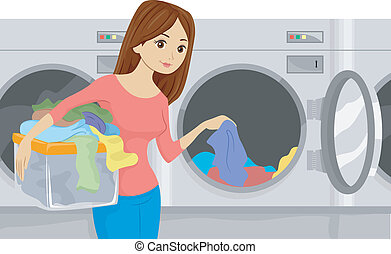 Illustration of a Girl Placing Laundry in a Washing Machine at a Laundromat