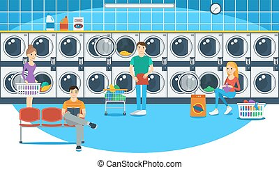 Vector illustration of people in a launderette
