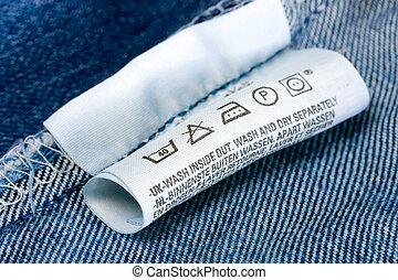 Laundry advice care symbols description , jeans blue ...