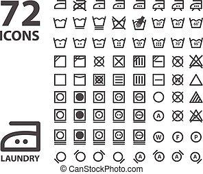 Laundry and washing icon set. isolated on white background