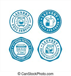 Laundry badge stamps design collection