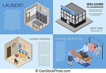 Laundry banner set, isometric style