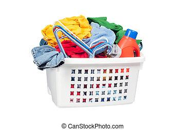 Laundry Basket - A laundry basket full of dirty clothing, ...