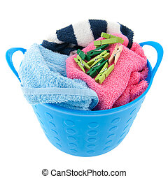Laundry basket - Full laundry basket with towels and clothes...