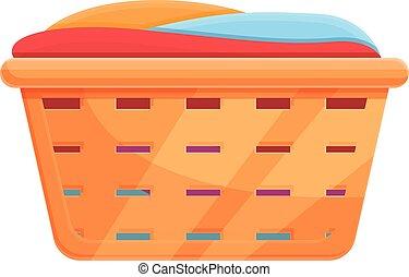 Laundry basket icon, cartoon style