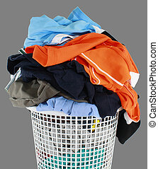 Laundry basket it content many shirts and pants