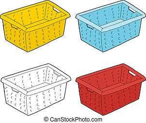 Series of single cartoon doodle laundry baskets