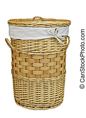 laundry basket - isolated on white background with clipping...