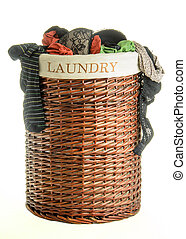 Laundry basket with clothes - Laundry basket with female ...