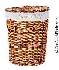Laundry Basket - wooden laundry basket isolated on white ...