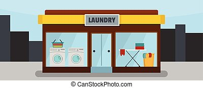 Laundry building banner horizontal, flat style