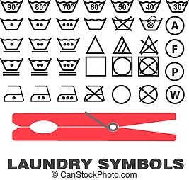 Laundry care symbols icons black on white background vector...
