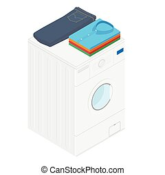 Laundry concept washing machine with jeans and stacked men's shirts isometric view