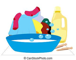 Laundry Day - Handwashing illustration