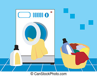 Laundry Day - Washing Machine, Soiled clothes and detergents