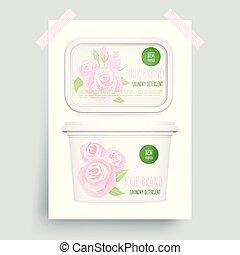 Laundry detergent, vector 3d design, white mock up