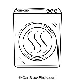 laundry dryer machine clothes appliance line style icon
