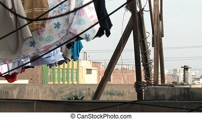 Laundry Drying - drying laundry at a rooftop, Lima, peru,...
