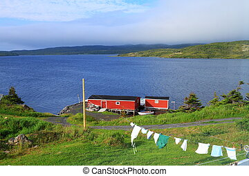 Laundry drying on the clothesline near red cabin in...