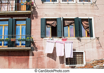 Laundry Drying Under Windows in Venice