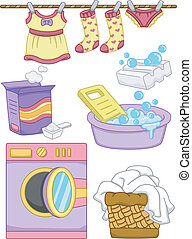 Laundry Elements - Illustration Featuring Ready to Print ...