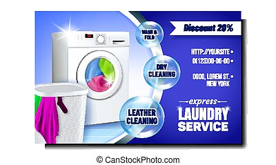 Laundry Express Service Advertising Poster Vector