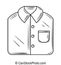 laundry, folded male shirt line style icon