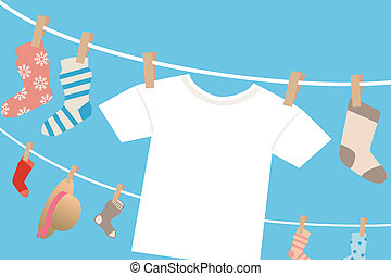 Laundry frame - Illustration vector.