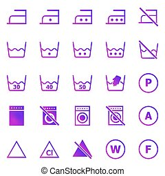 Laundry gradient icons on white background