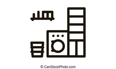 Laundry Icon Animation. black Laundry animated icon on white background