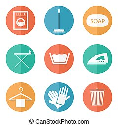 Laundry icons - Laundry And Cleaning Icons Set for web and...