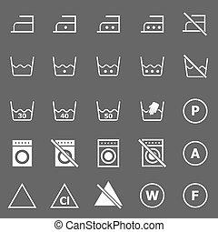 Laundry icons on gray background