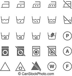 Laundry icons on white background, stock vector