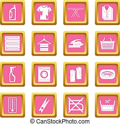 Laundry icons pink