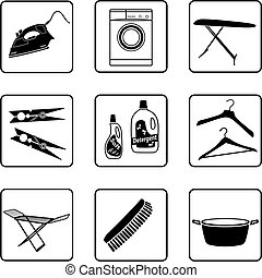 Laundry objects black and white silhouettes